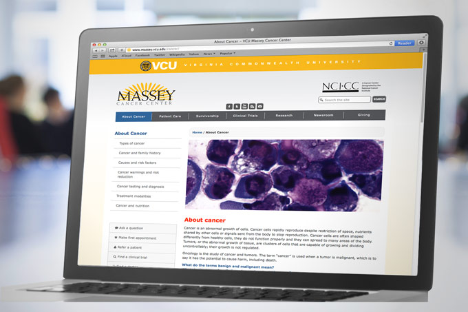 VCU Massey Cancer Center Website Design