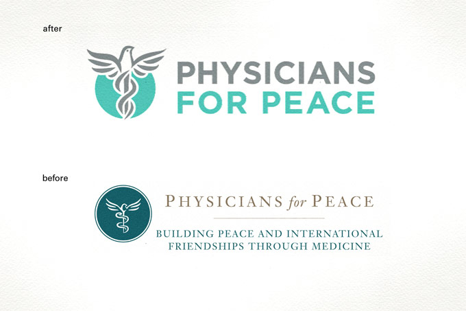 Physicians For Peace - Logo Before & After