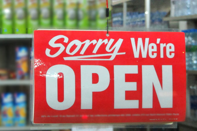 Sorry, we're open.