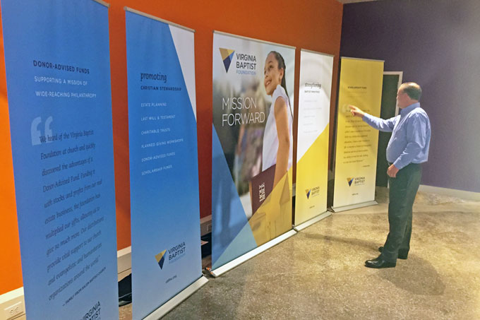 Virginia Baptist Foundation re-brand, website, trade show booth